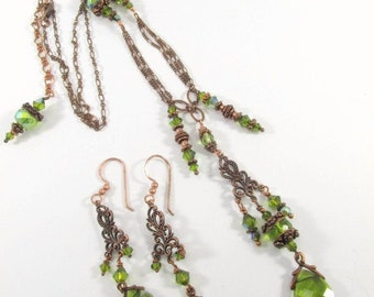Long Olive Green and Copper Necklace and Chandelier Earring Set with Swarovski Crystals and Filigree Settings