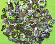 LIQUIDATION 100 Charms Assorted Antique Silver and Bronze Tone Less Than Wholesale Cost Grab Bag 90% Off GRAB10