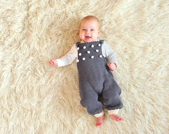 Hand knitted newborn baby girl boy overall dungarees jumpsuit Grey Charcoal white popcorn knit bobbles merino wool gift 0-3-6-9-12-18 months