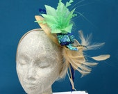 Yellow, Royal Blue, Green Paisley Fascinator Hat: Fashion Hat for Church, Derby