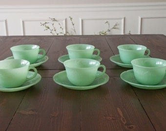 Vintage Fire King Jadeite Alice Cups and Saucers (set of 6)