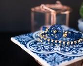 Minimalist Dream Catcher Macramé Stackable Blue and Gold Bracelet