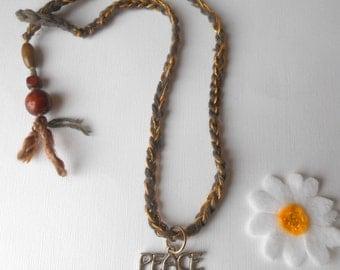 peace pendant necklace  lariat crochet tassel necklace by Peace Stitch Studio