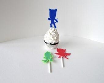 PJ Masks Cupcake Toppers, Pj Masks cupcake picks, Pj Masks cake topper, PJ Masks decoration, PJ Masks party decor