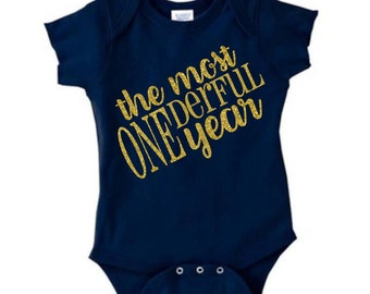 First Birthday bodysuit, one year old bodysuit, ONEderful, Cute Baby bodysuit, Unique Baby clothes, Baby Bodysuit, Kids Clothes, birthday