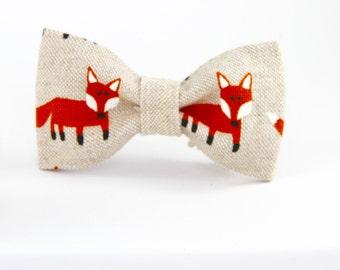Foxes linen bow tie, boys bow tie,  linen baby bowtie