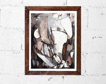 Medium ORIGINAL Painting, Black White Gray Brown Tan Painting, Acrylic Ink Painting, Abstract Art, Abstract Line Painting, Cavern, Stone