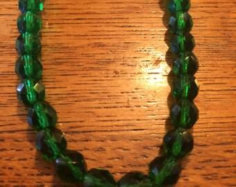 """Long Emerald Green Czech Glass Necklace 28"""""""