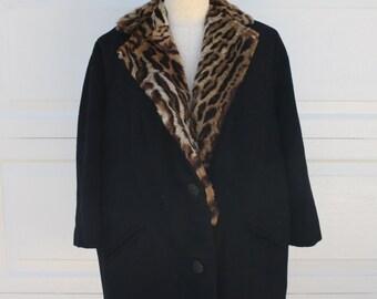 Vintage Leopard Coat 1960s  Authentic Fur Animal Print Swing Coat