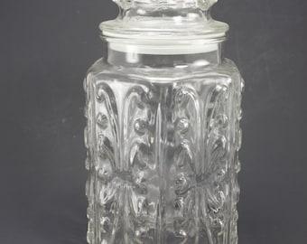Vintage Clear Glass Canister Decorative Embossed Jar Storage