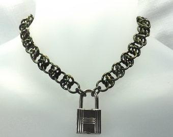 Locking Male Submissive Collar chrome lock and key mens day collar handmade chain mature Chain collar sub black chain day collar