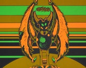 1970s Vintage Blacklight Poster In the Beginning Aliens Poster Hippie Poster Green and Orange Bats and Chickens 24 X 36 Wall Art Houston