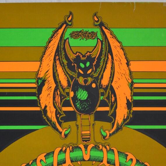 1970s Vintage Blacklight Poster In the Beginning Aliens Poster