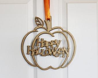 Happy Halloween Pumpkin Door Sign, Halloween Holiday sign, Door sign, home decor, wall hanging