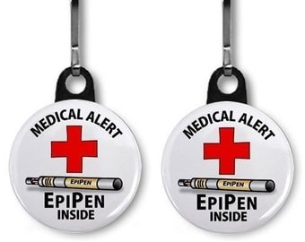 EPIPEN INSIDE Medical Alert 2-Pack Zipper Pull Charms (Choose Size and Backing Color)