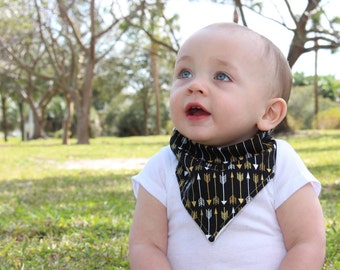 Baby Bibdana Baby Bib Drooling Bib Black with Silver White & Gold Metallic Arrows over Creme Flannel teething bib baby bib