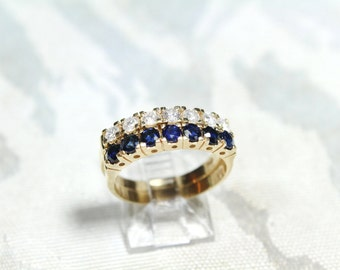 Diamond and Sapphire Stackable Rings 14k Yellow Gold.  1.75 CTTW