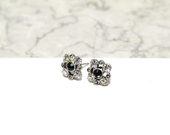Small Square Flower Stud Earrings with Clear Diamond and Black Swarovski Crystals