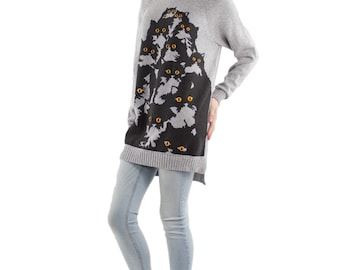 Long Gray Heather Crazy Kitty Sweater