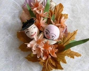 Thanksgiving Corsage Vintage Spun Cotton Pilgrims Copper Peach Fall Colors Decoration