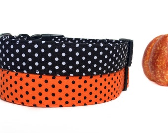 Black Orange Dog Collar / Polka Dot Dog Collar / Fall Dog Collar / Black White Dog Collar / Your Choice of Color
