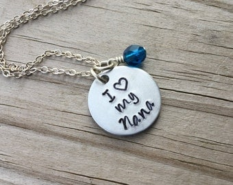 """Nana Necklace """"I (heart) my nana""""  with a birthstone or an accent bead in your choice of colors"""