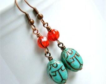 scarab earrings, drop earrings, beaded earrings, czech glass jewelry, beetle jewelry