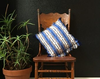 vintage striped blue white afghan throw pillow / fringe