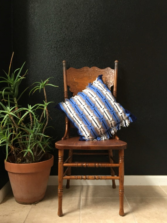 vintage striped blue white afghan throw pillow / fringe