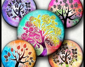 INSTANT DOWNLOAD Colorful Whimsical Trees (779) 4x6 Bottle Cap Images 1 inch Printable Digital Collage Sheet glass tile cabochon images