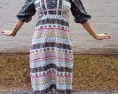 patchwork bohemian hippie folk festival maxi dress 1970s groovy mod hipster flowy gown size xs petite fit puff sleeve juliet dress cotton