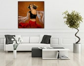 Gypsy Dance, Seville Spain Flamenco, Red dress,Original large size format painting, Wall Art, 58x 58, Free Shipping in USA.