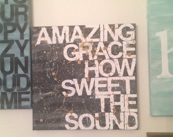 amazing grace - 12x12 - hand painted canvas sign