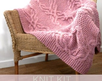 Cable lap blanket kit , cable knit kit  , Chunky Knitting Kit ,  Throw knitting kit ,  home decor knitting pattern , diy craft kit for her