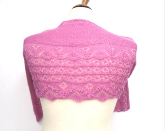Crescent shaped shawl , hand knit pink scarf , wedding accessory , gift for her , bridal wear , knitted neck wear , unique design