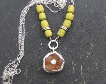 Silver Necklace - Carnelian & Yellow Glass Beads Pendant - Ethnic Rustic Necklace - Statment Necklace