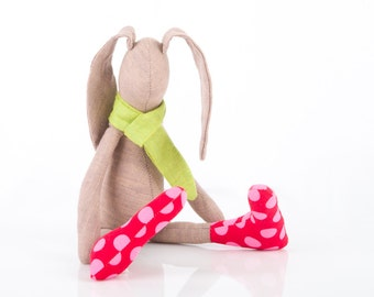 Bunny hare - eco handmade fabric doll - Easter SMALL bunny doll -  plush soft mocha rabbit doll - eco mini plush toy - lime green red pink