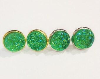 The Druzy Earrings in Sparkling Emerald | Emerald Druzy Earrings | Emerald Earrings | Emerald Jewelry | Druzy Studs in Sparkling Emerald