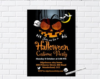 Halloween Party,  Birthday Invitation, halloween costume party - October party, card  811