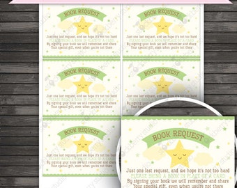 Twinkle Twinkle Little Star Baby Shower Book Request Cards Printable - Instant Download - Neutral Baby Shower - Yellow Green Baby Shower