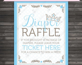 Prince Baby Shower Diaper Raffle Ticket Sign - Instant Download - Baby Shower Sign - Blue Baby Shower Printable - Boy Baby Shower Games