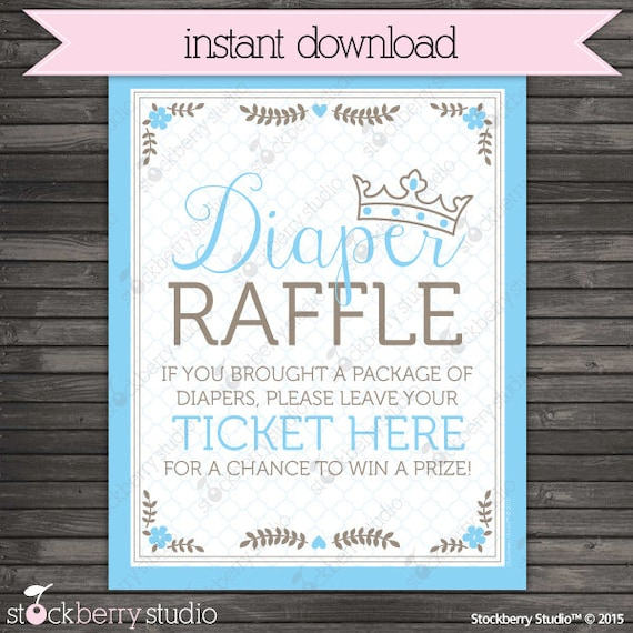 prince baby shower diaper raffle ticket sign instant