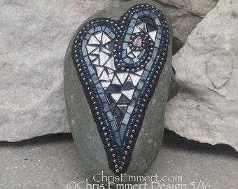 Blue and Smoked Mirror, Heart, Mosaic, Garden Stone, Gardener Gift, Home Decor, Garden Decor