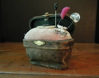 Antique Parisian Opera Glass Case Pin Cushion OOAK / Victorian Pink Velvet Fabric Pincushion / Hand Crafted Pin Cushion / Sewing / Up Cycled