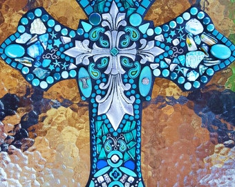 """CUSTOM MOSAIC Wall Cross - Turquoise, Teal & Silver Embellishments and Initials, Howlite Stones and Glass, Unique and OOAK!!  -  18"""" x 14"""""""