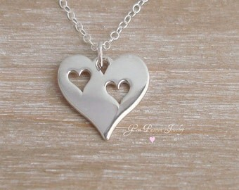 Heart Necklace Sterling Silver 2 Heart Cut Out - Couples Necklace - Mothers Day gift - Valentine Gift - 2 Hearts Necklace - Mother daughter