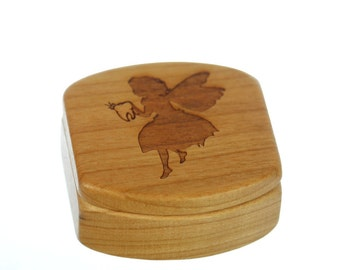 "Tooth Fairy Wooden Box, Solid Cherry, Pattern MS18 Tooth Fairy, 1-3/4""L x 1-7/8""W x 7/8""D, Paul Szewc"