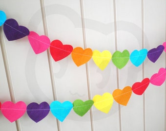 Rainbow Heart Garland - made with wool blend felt in colourful and bright shades, perfect for kids room or birthday (3 meters)