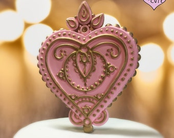 Henna Heart Wedding Cake Topper - Customizable Colors
