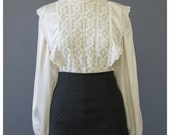 SALE - 70s Blouse - Victorian Style Lace Blouse - Cream Satin Blouse - Edwardian 1970s Blouse - Off White High Collar Prairie Blouse - S/M